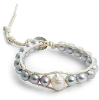 Chan Luu Grey Pearl Single Wrap Bracelet