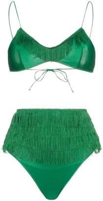 Oseree Charleston high waisted fringe detail bikini set