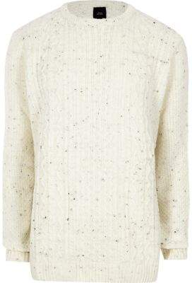 River Island Mens Big and Tall cream cable knit sweater