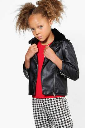 boohoo Girls Contrast Faux Fur Collar Biker Jacket