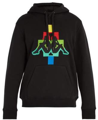 Marcelo Burlon County of Milan X Kappa Embroidered Cotton Blend Hooded Sweatshirt - Mens - Black