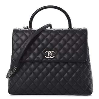 Chanel Coco Handle Flap Quilted Diamond Large Black