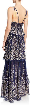 BCBGMAXAZRIA Embroidered Tiered-Skirt Lace Gown