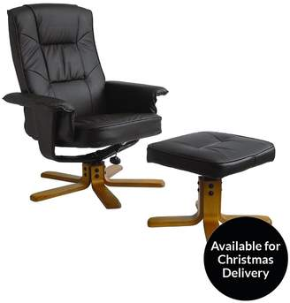 Alphason Drake Recliner Office Chair With Matching Footstool