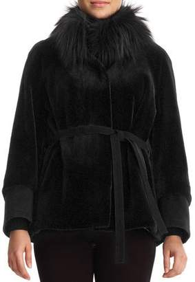 Gorski Sheared Mink Jacket with Fox-Fur Collar and Suede Belt