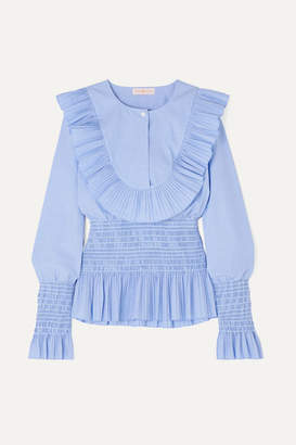 Tory Burch Smocked Ruffled Cotton Blouse - Light blue