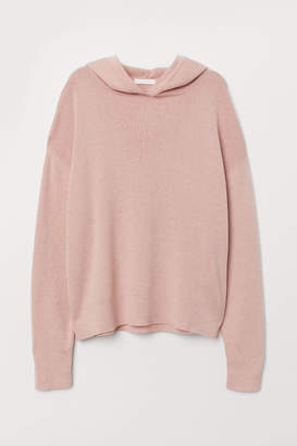 H&M Fine-knit Hooded Sweater - Pink