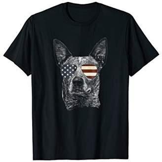 Australian Cattle Dog T-shirt with USA flag sunglasses