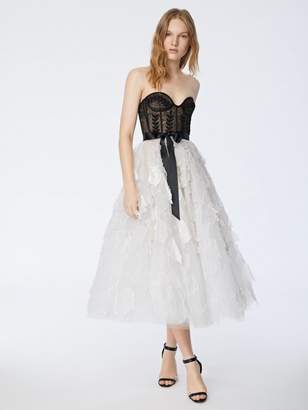 Oscar de la Renta Chantilly Lace and Embroidered Tulle Cocktail Dress