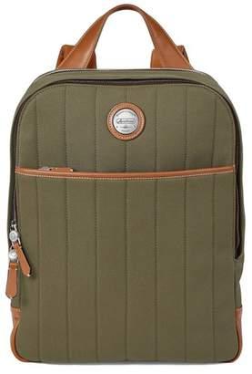 Aspinal of London Aerodrome Backpack In Khaki Canvas Smooth Tan