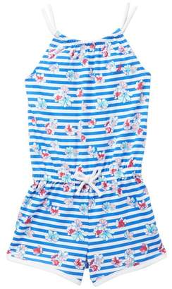 Nautica Stripe & Floral Print Rope Strap Romper (Little Girls)
