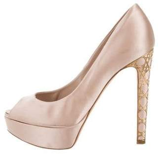 Christian Dior Satin Peep-Toe Pumps Champagne Satin Peep-Toe Pumps
