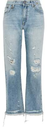 R 13 Wilton Distressed High-Rise Straight-Leg Jeans