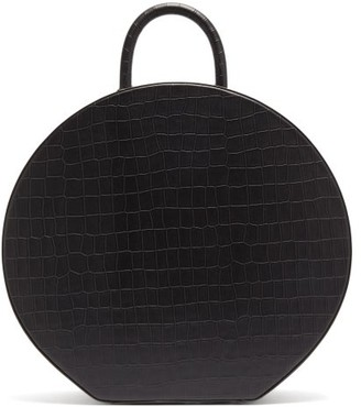 Sparrows Weave - Large Crocodile Effect Leather Handbag - Womens - Black