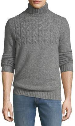Neiman Marcus Mixed Cable-Knit Cashmere-Blend Turtleneck