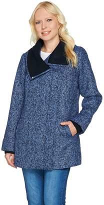 Isaac Mizrahi Live! SOHO Zip Front Coat with Sweater Knit Trim