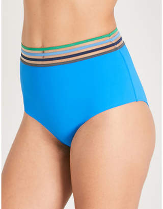 Emma Pake Ladies Blue Striped Classic Ilaria High-Rise Bikini Bottoms