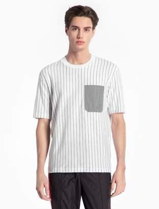 Calvin Klein striped cotton crewneck pocket t-shirt