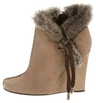 Louis Vuitton Fur-Trimmed Wedge Ankle Boots