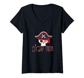Womens Pirate Mom Cute Jolly Roger Hat Skull Flag V-Neck T-Shirt
