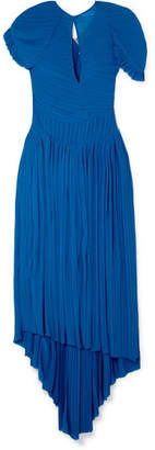 Preen by Thornton Bregazzi Milly Asymmetric Plissé-chiffon Midi Dress - Royal blue