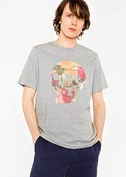 Paul Smith Men's Grey 'Floral Skull' Print Organic-Cotton T-Shirt