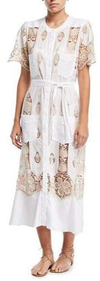 Miguelina Coraline Button-Down Cotton Coverup Maxi Dress w/ Lace