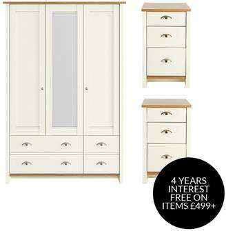 Consort Furniture Limited Tivoli 3 Piece Package - 3 Door, 4 Drawer Mirrored Wardrobe And 2 Bedside Chests