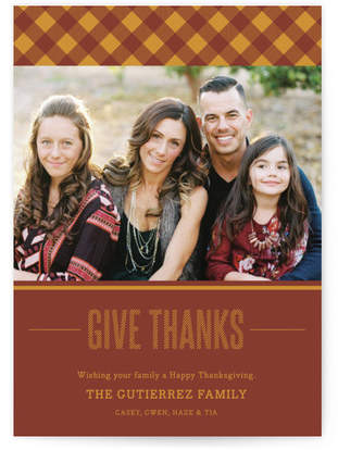 Thanks-gingham Thanksgiving Cards