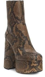 Saint Laurent Women's Billy Leather Platform Booties - Caramel - Size 36 (6)