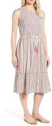 Caslon Smocked Stripe Midi Dress (Regular & Petite)