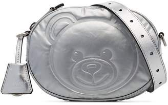 Moschino Silver metallic teddy embossed leather belt bag