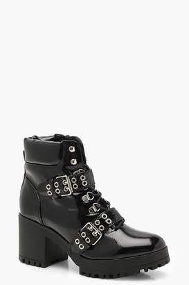 boohoo Patent Double Strap Lace Up Chunky Hiker Boots
