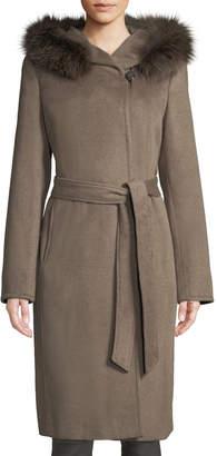 Ellen Tracy Slick Wool Wrap Pea Coat w/ Fox Fur Hood
