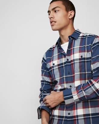 Express Slim Plaid Lightweight Button Front Flannel Shirt