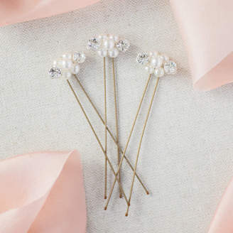 Splendour Corrine Smith Design Set Of Three Pearl And Crystal Hairpins