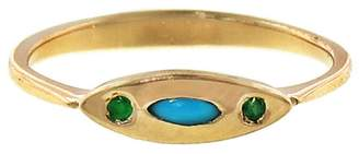 Lori McLean Turquoise And Emerald Deco Evil Eye Ring