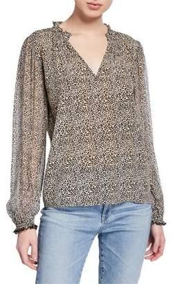 Velvet Mel Leopard-Print Long-Sleeve Top