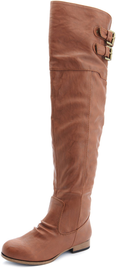 buckled pleather thigh high boot sold out thestylecure