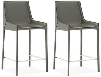 One Kings Lane Set of 2 Conrad Barstools - Cappuccino Leather
