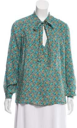 Saint Laurent Floral Print Long Sleeve Top