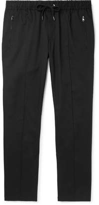 Dolce & Gabbana Slim-Fit Tapered Stretch-Cotton Twill Drawstring Trousers - Men - Black