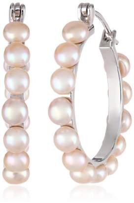 Bella Pearl Chinese Freshwater Cultured Pearl Hoop Earrings