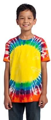 Port & Company Youth Essential Window Tie-Dye Tee. Rainbow. S.