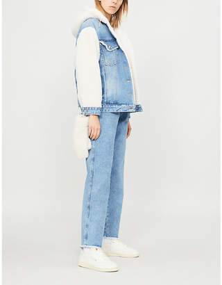 Sjyp Mitten-detail faux-shearling and denim jacket