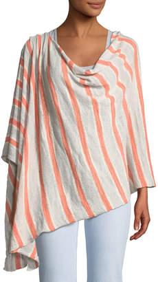 Minnie Rose Striped Linen-Blend Ruana