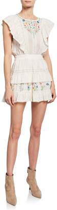 LoveShackFancy Romy Embroidered Lace-Trim Mini Dress