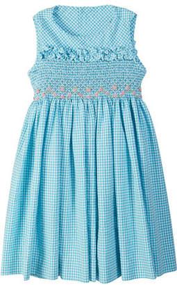 Luli & Me Gingham Seersucker Smocked Dress, Size 4-6X
