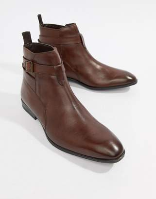 Asos Design DESIGN Chelsea Boots In Brown Leather With Strap Detail