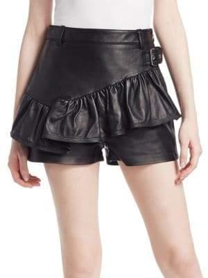 3.1 Phillip Lim Leather Ruffle Shorts